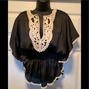 Black, lace trim blouse